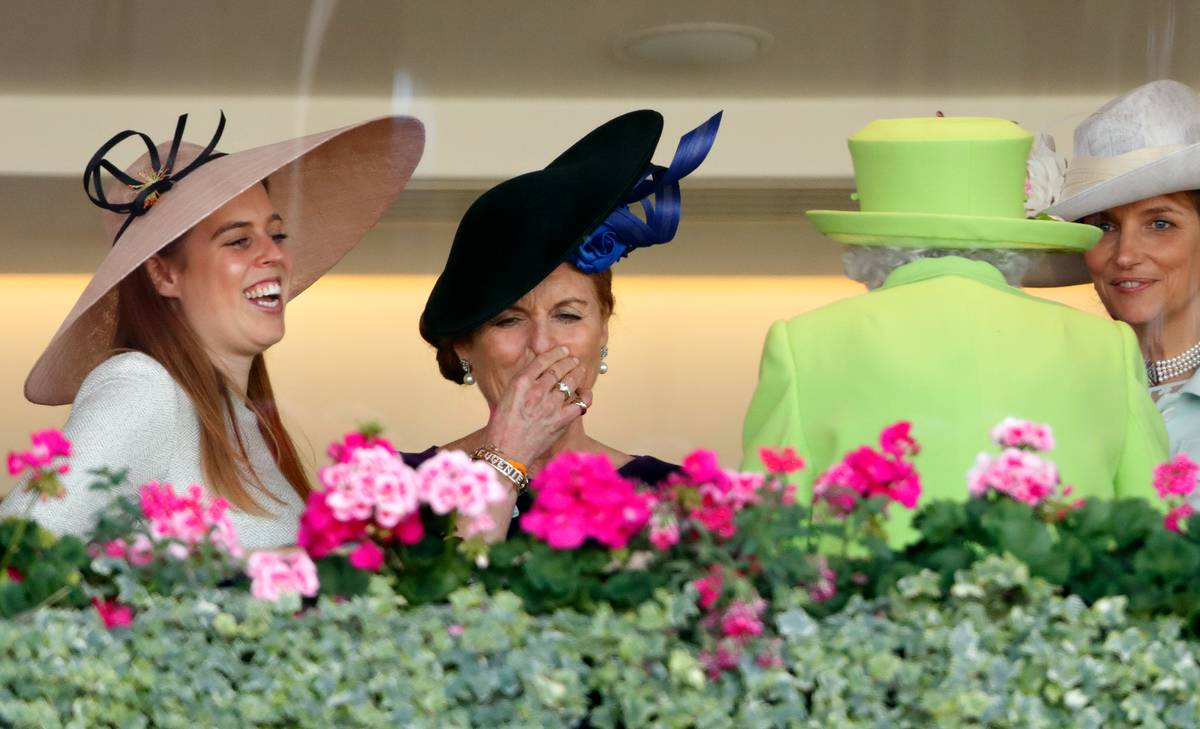 Princess Beatrice and Sarah, Duchess of York seen talking with Queen Elizabeth II