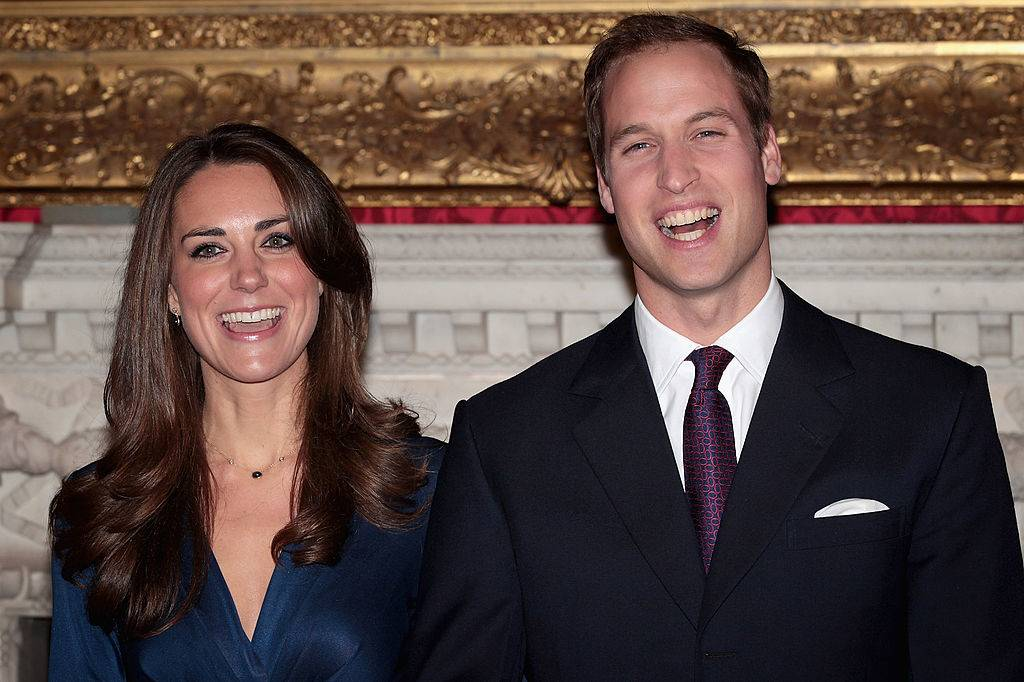 Prince William and Kate Middleton pose for photographs in the State Apartments of St James Palace on November 16, 2010