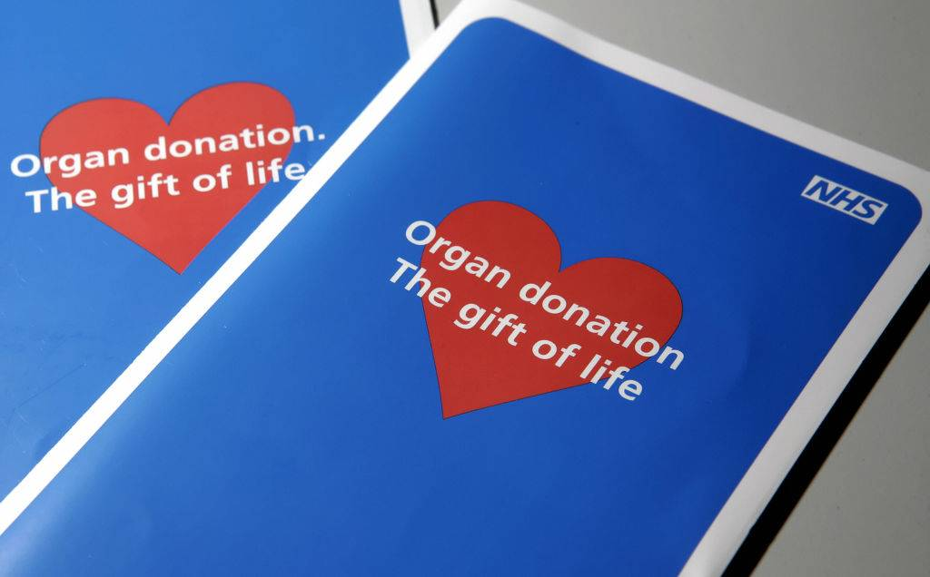 Two organ donor application leaflets are shown