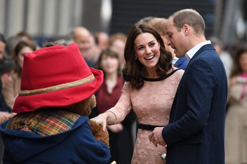 prince william and kate meeting a mascot of paddington bear