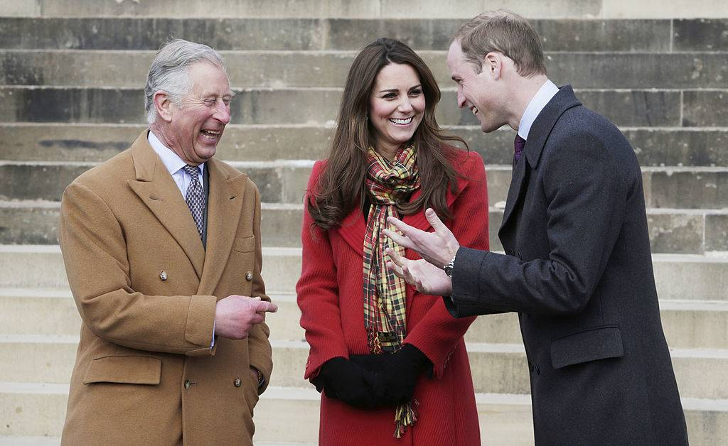 prince charles, prince william, and kate laughing in scotland