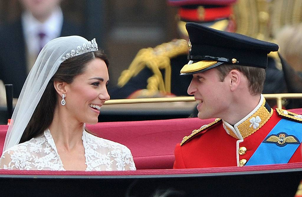 Their Royal Highnesses Prince William, Duke of Cambridge and Catherine, Duchess of Cambridge prepare to begin their journey by carriage procession to Buckingham Palace