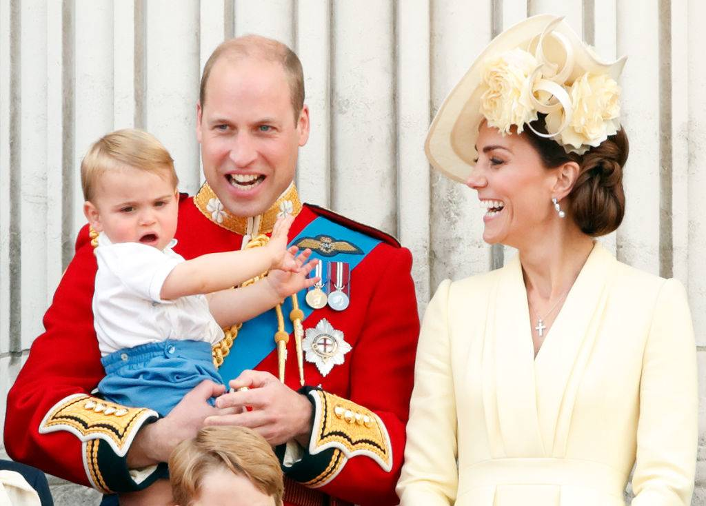 prince william and kate laughing with prince louis