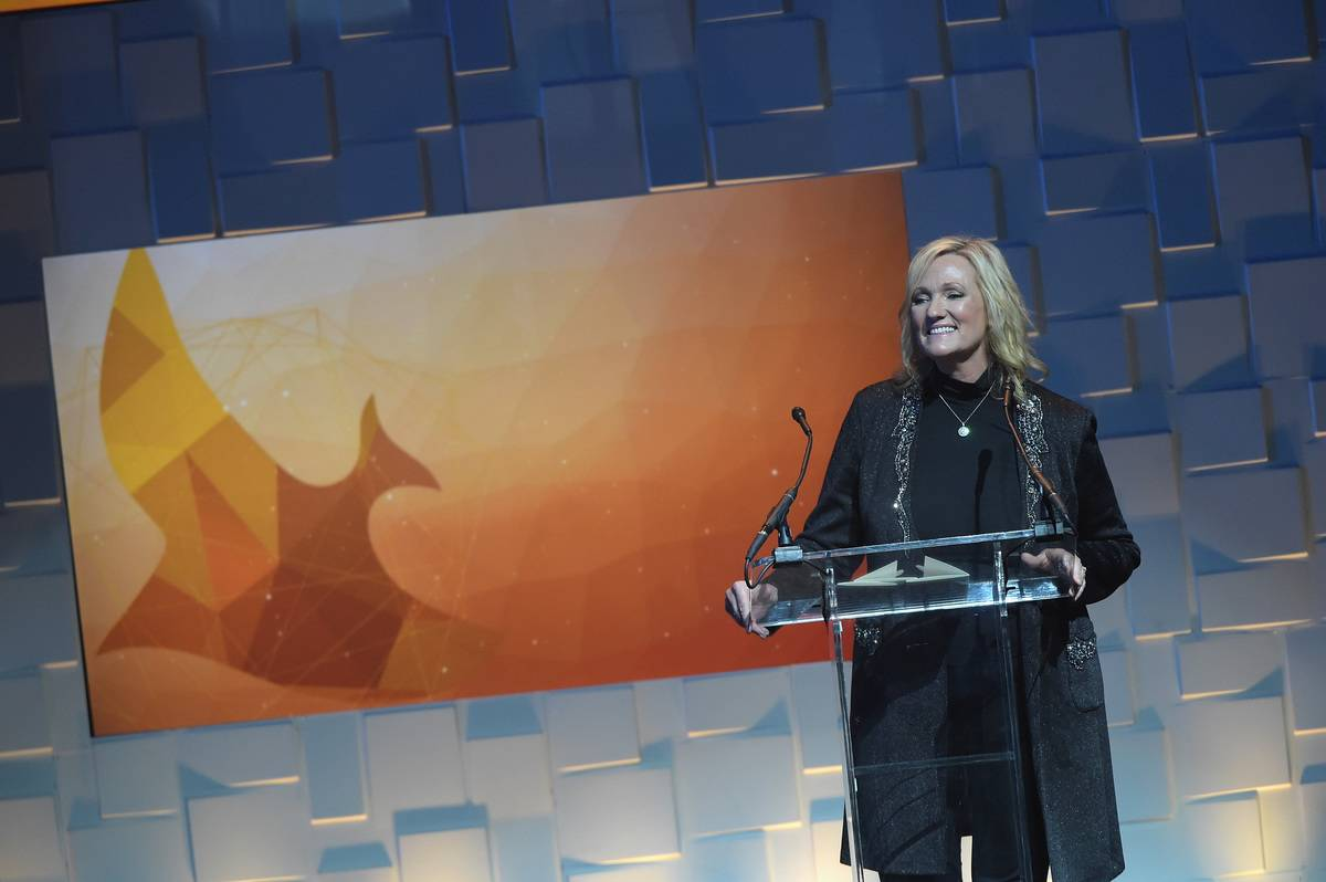 Karen Kingsbury speaks onstage during the Annual Dove Awards.