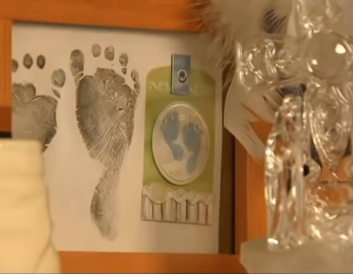 Noah's footprints are displayed on a shelf.
