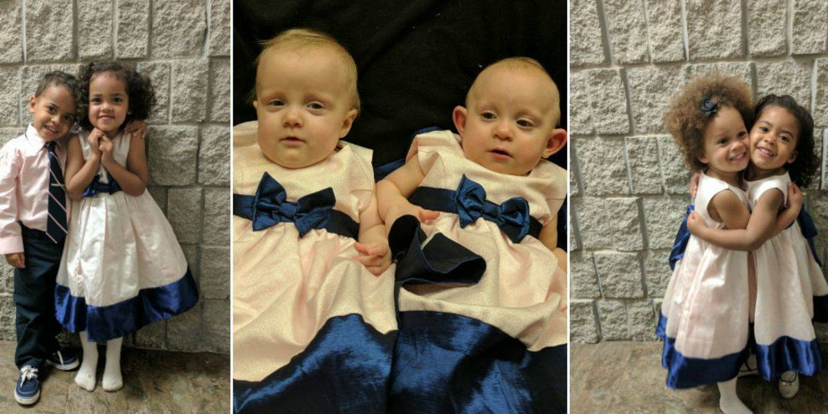 The three sets of Kosinski twins are pictured separately.