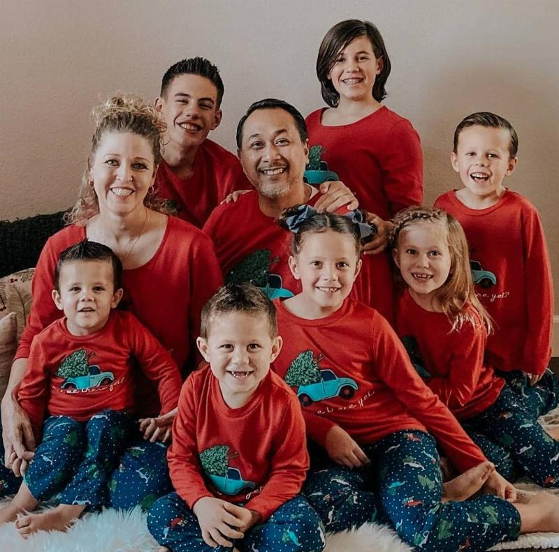 The Willis family gets together in matching outfits for Christmas.