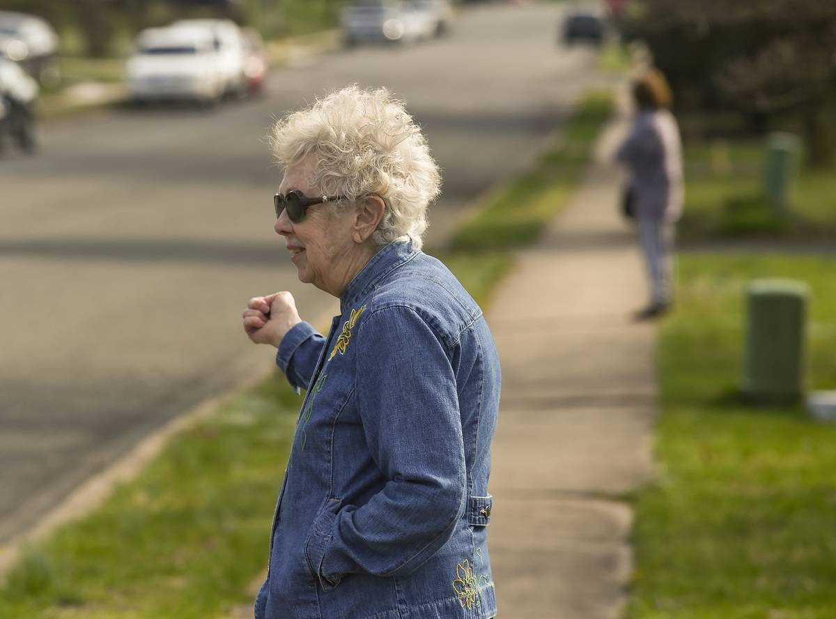 Neighbors Meet At Sidewalk During Coronavirus
