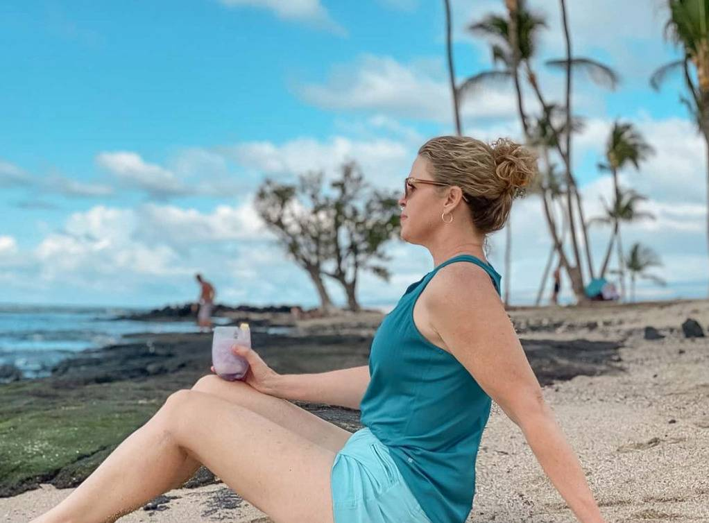 Pam thinks as she sits on the beach and looks at the ocean.