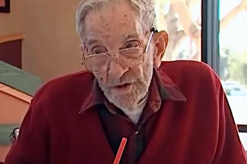 97-Year-Old Doug Parker talks to a news station in his local Arby's.