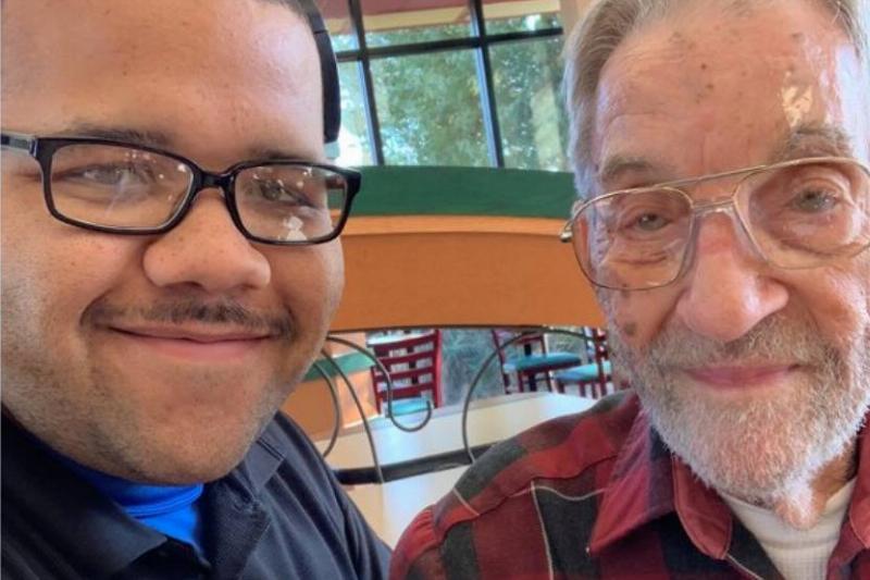 Mr. Doug and Travis Coye take a selfie together.