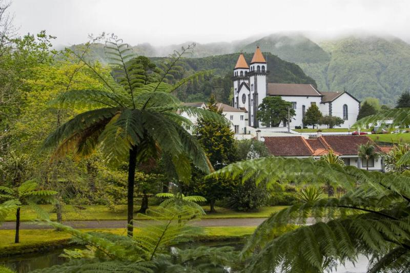 View of the church from the Terra Nostra Botanical Gardens...