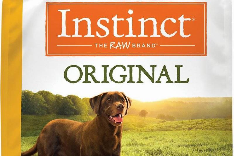 the front of a bag of instinct original grain-free dry