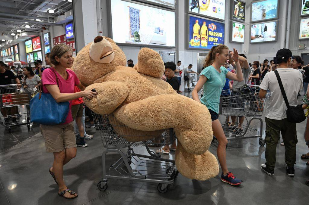 woman pushing a cart with a giant teddy bear