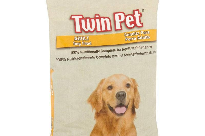 twin pet adult dog dry food front of bag