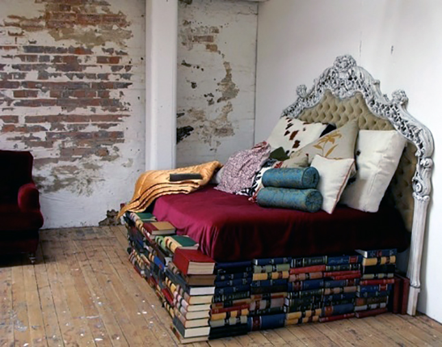 bedframe made from books