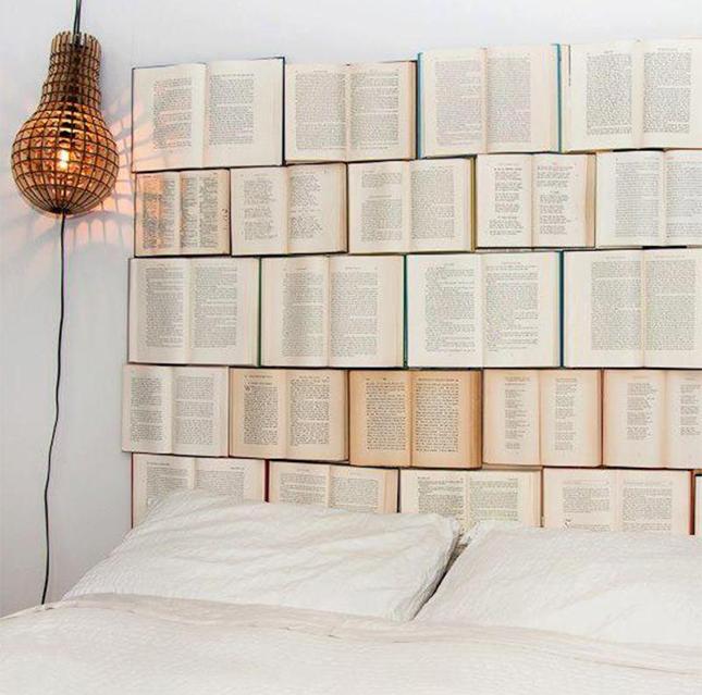 headboard from books