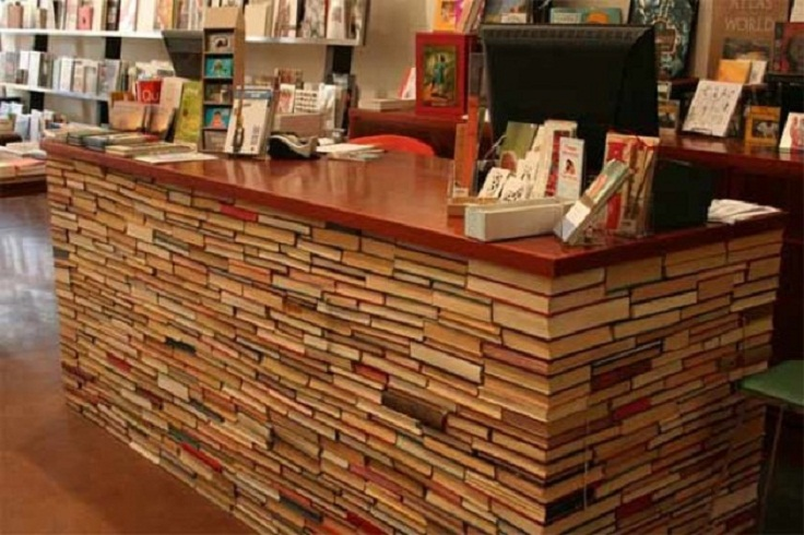Desks made from books