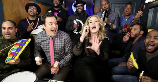 Adele Jimmy Fallon and the Roots performing Hello