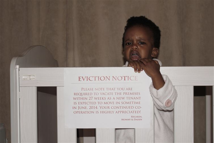 Baby Eviction in Crib