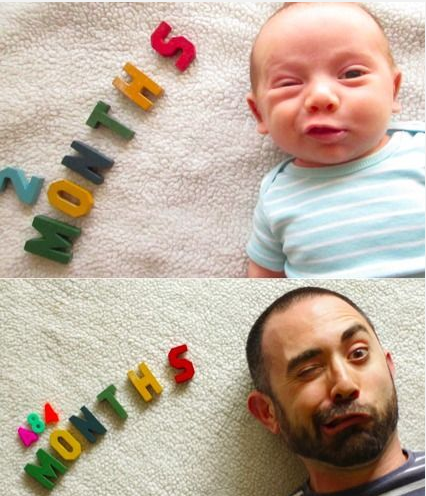Baby and Dad Take Same Photo