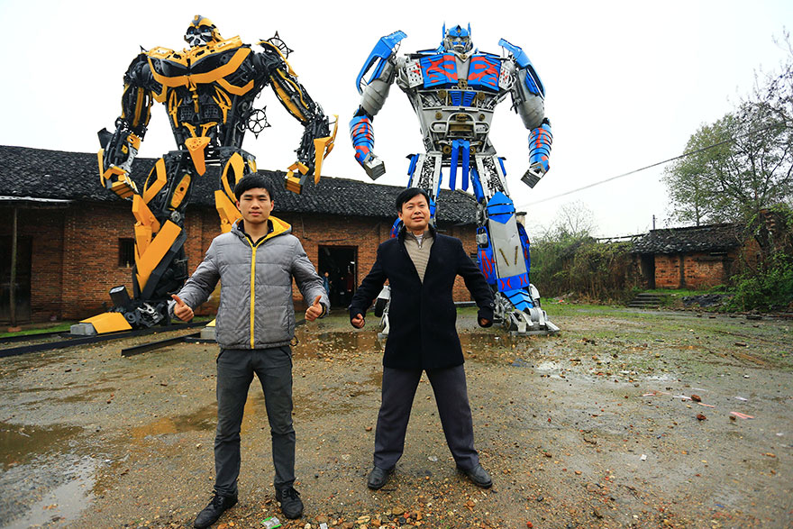 Father and son turn scrap metal into giant Transformers sculptures