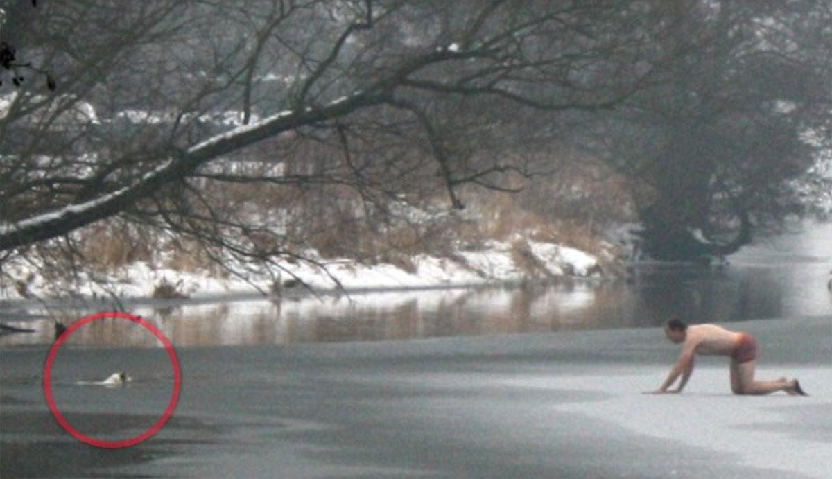 Into A Freezing Lake To Save A Dog