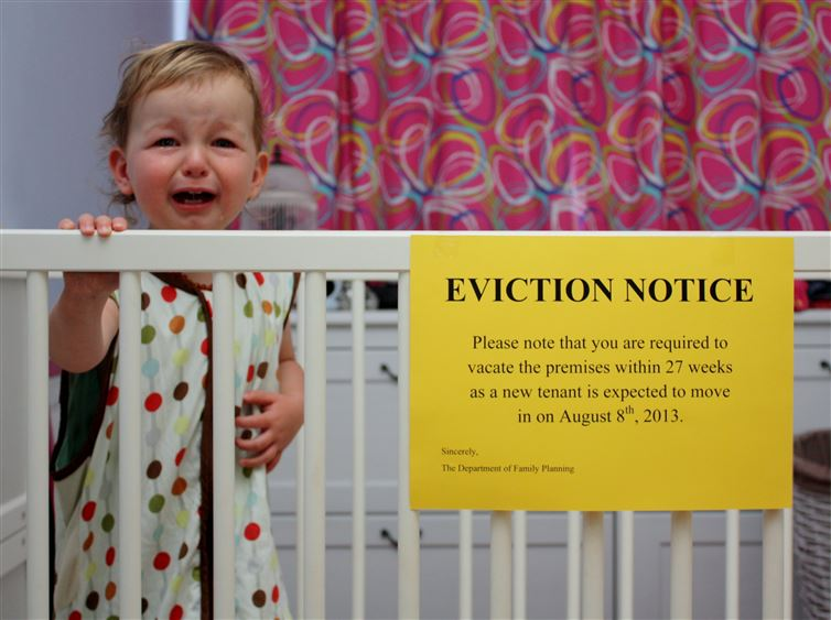 Funny Baby Eviction Notice posted on Crib
