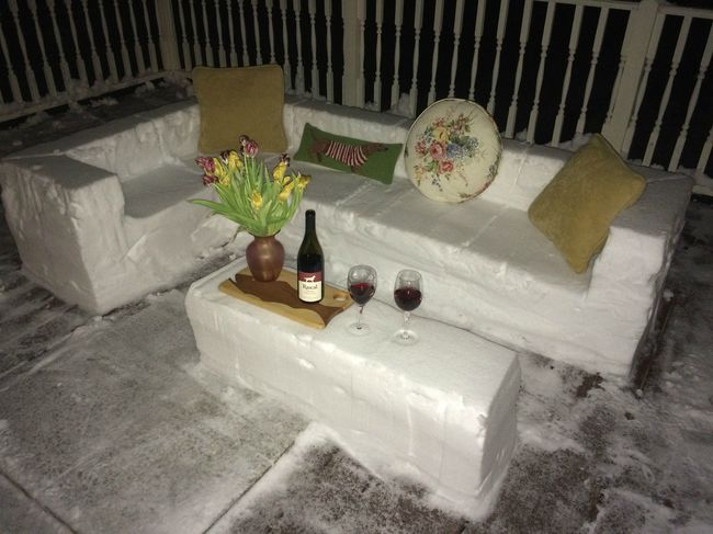 Charming Outdoor Snow Furniture Helps Set Up A Night Of Romance.