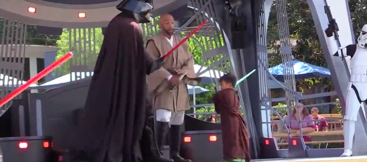 Little boy versus Darth Vader