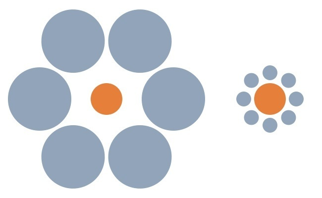 Orange circle with grey circles