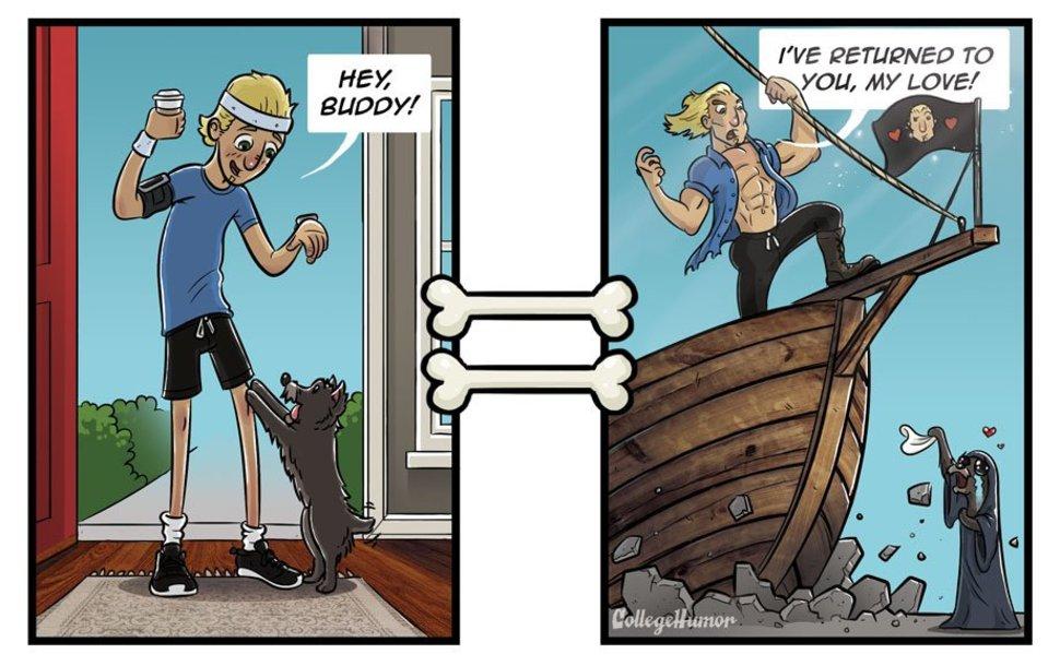 Owner Returns Home - Dog Illustration