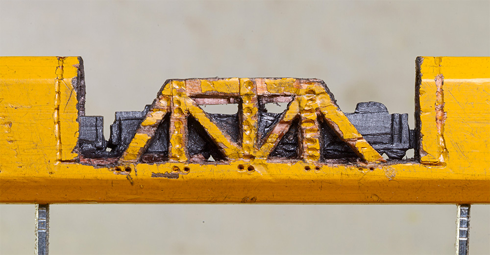 Pencil transformed into a train