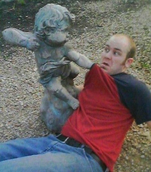 Posing With A Statue for fun