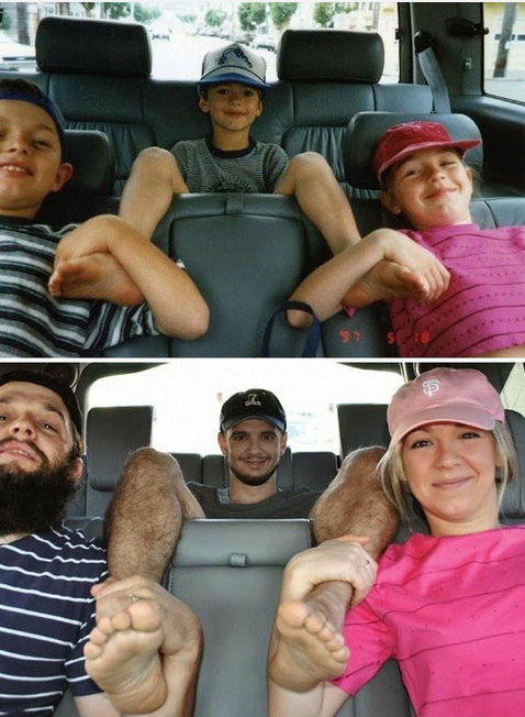 Recreating a childhood road trip photo