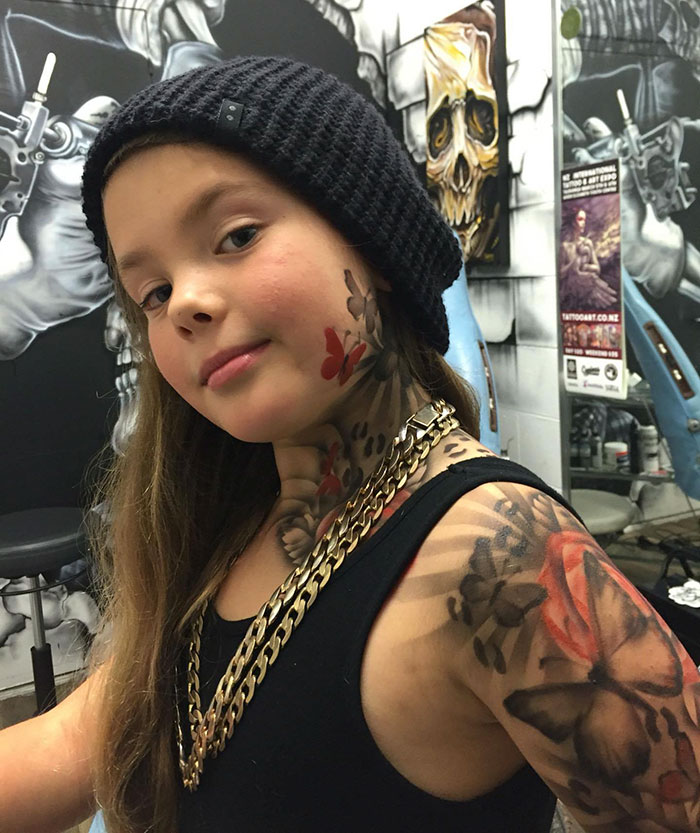 Sick children with airbrush tattoos