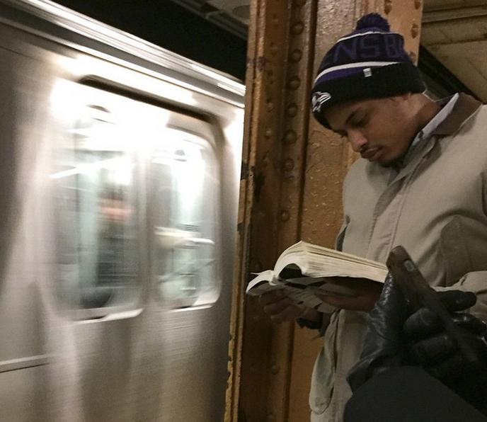 Subway Train hot dudes reading