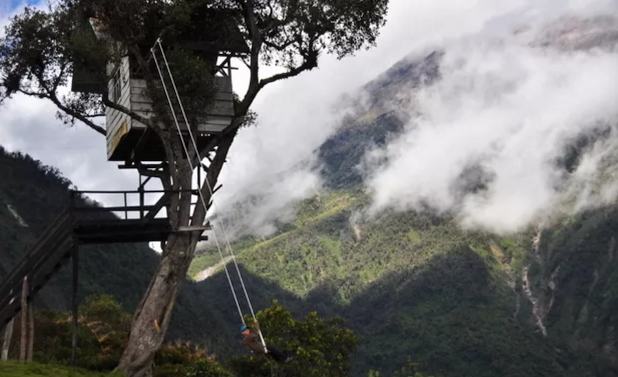"Swing At The ""End of the World"" In Ecuador"
