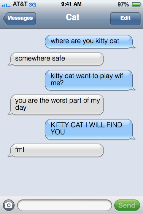 Toddler Texting A Kitty Cat