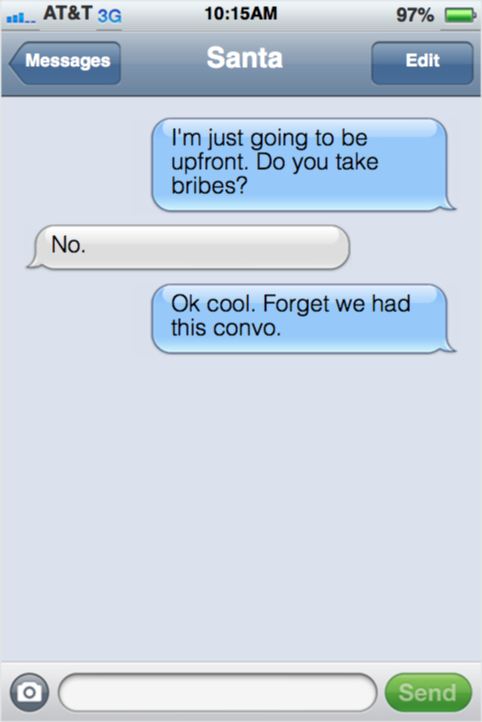 Toddler Texting for a bribe