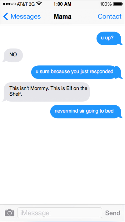 Toddler Texting to Elf On The Shelf