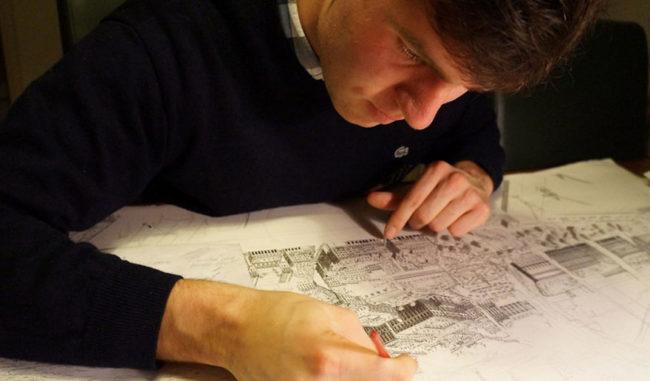 artist draws cities