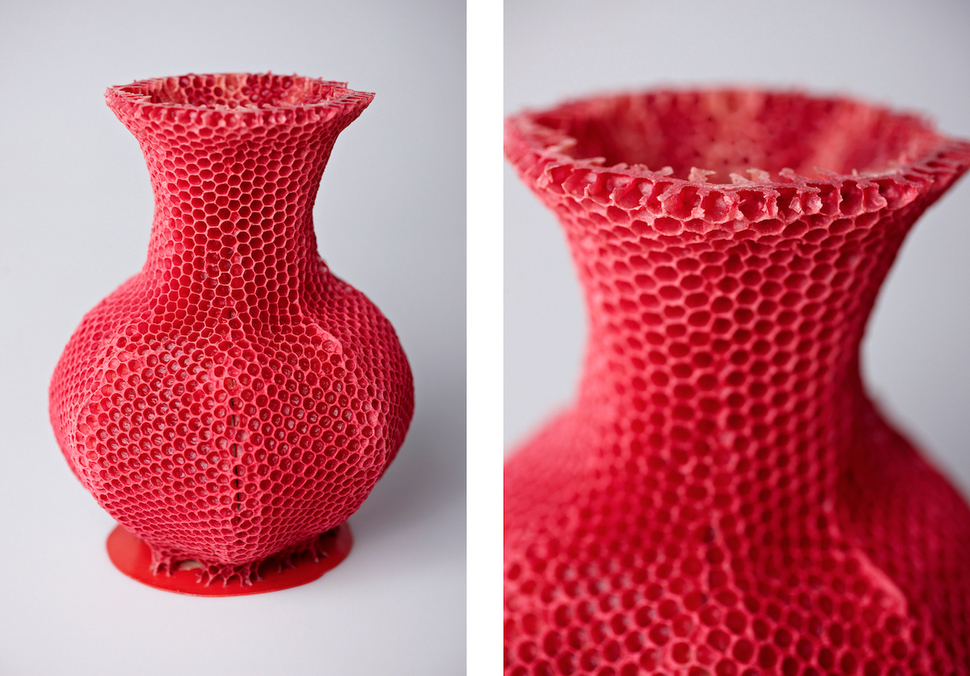 beeswax vase colored red