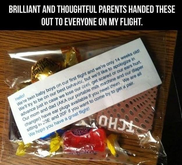 Parents gift plane passengers