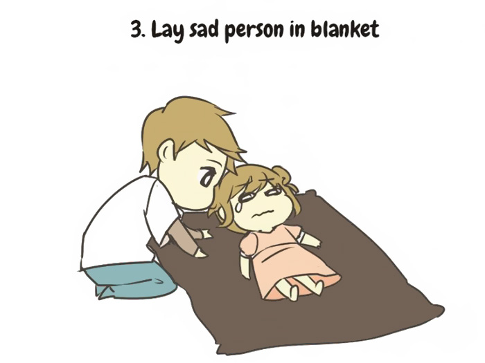 lay sad person on blanket
