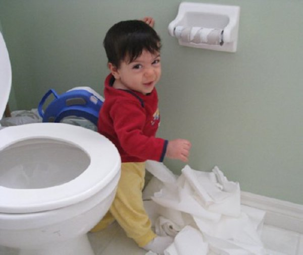 Toilet Paper Is Amusing To Toddlers