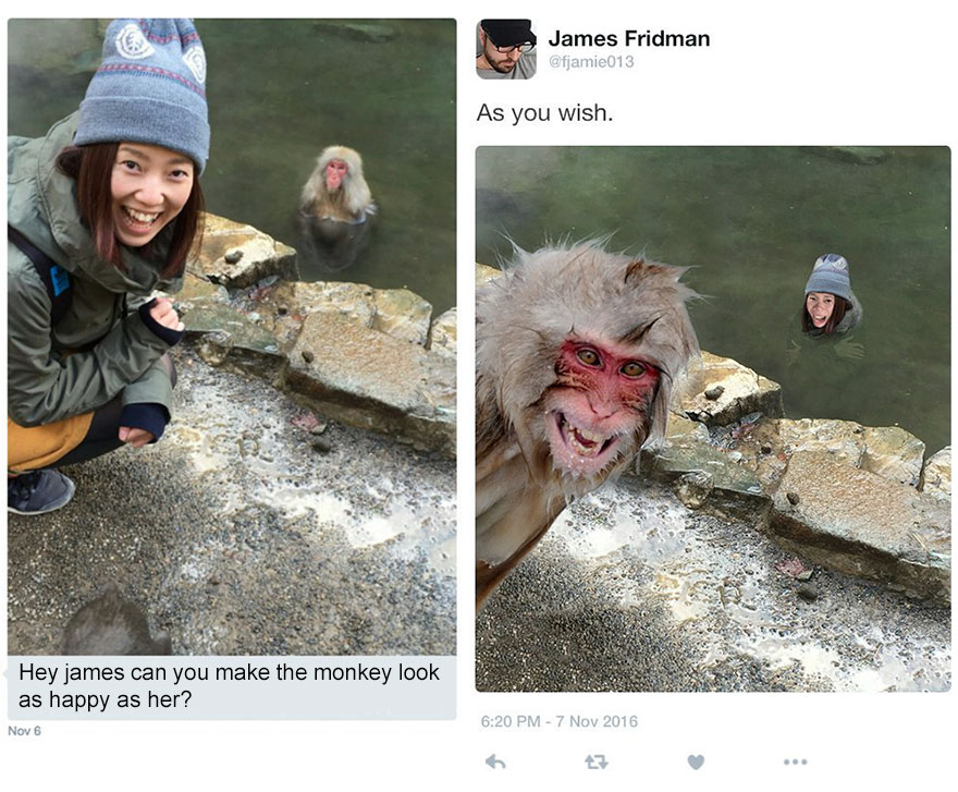 Hi James, can you make the monkey look as happy as her?