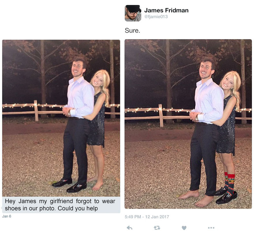 Hey James, my girlfriend forget to wear shoes in our photo. Can you help?